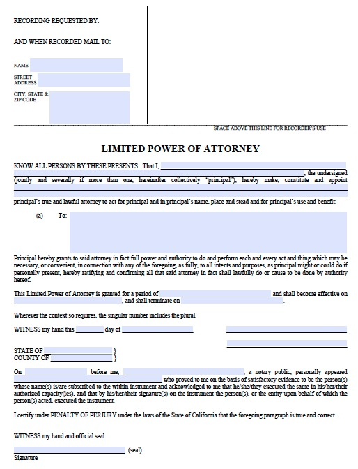 Download California Limited Power of Attorney Form wikiDownload