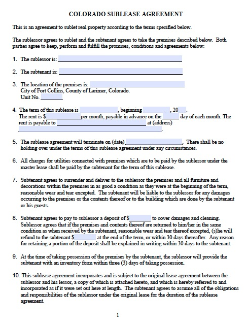 Download Colorado Rental Lease Agreement Forms and Templates - rental contract agreement