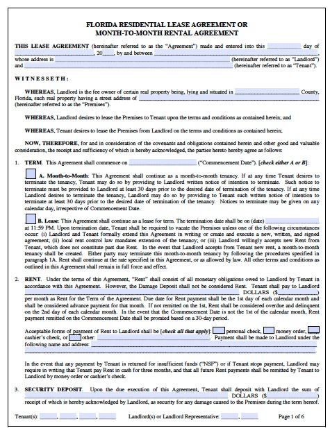 Download Florida Rental Lease Agreement Forms and Templates PDF - rental contract agreement