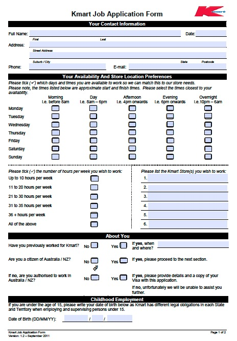 Free Job Application Forms Printable Online Download Kmart Job Application Form Pdf Template