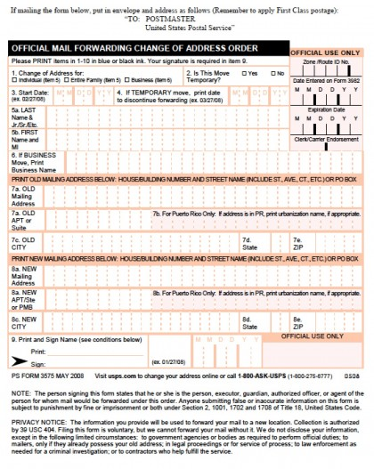 Download USPS Change of Address Form - PS Form 3575 PDF wikiDownload - Printable Address Change Form