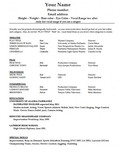 templates for acting resume downloads