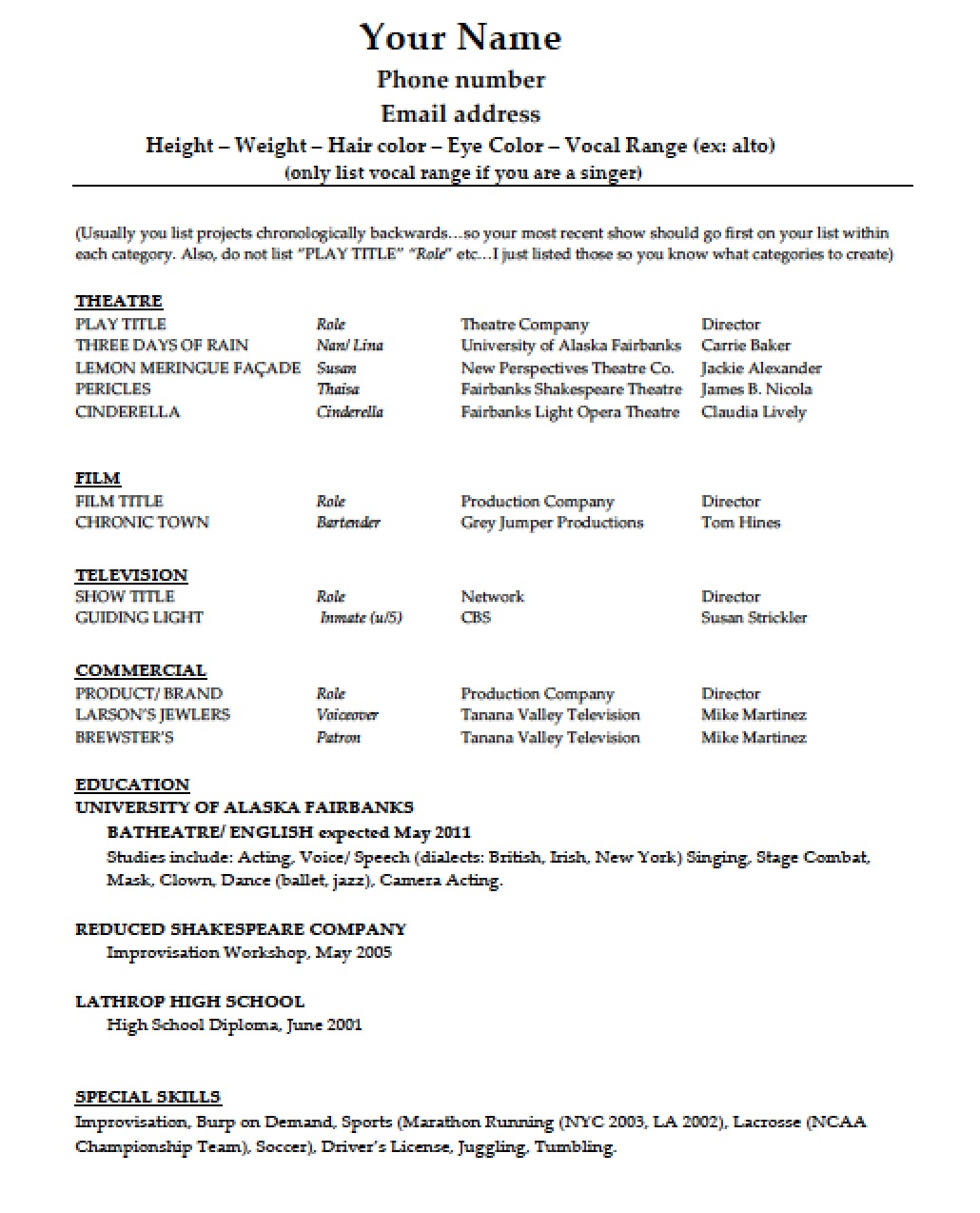 sample acting resume special skills resume templates sample acting resume special skills sample resume child children in film of special skills for acting