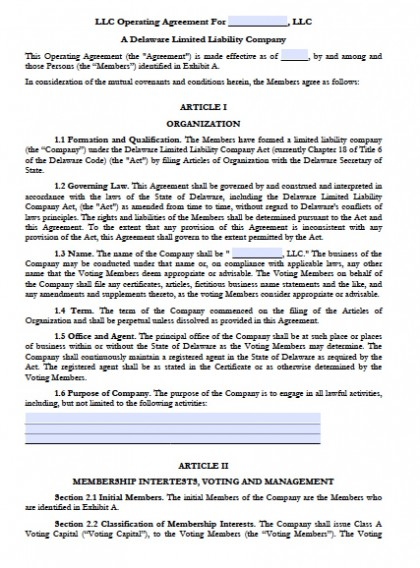 Download Delaware LLC Operating Agreement Forms and Templates - business operating agreement