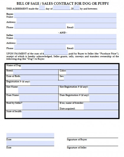Download Bill of Sale for a Dog - Puppy wikiDownload - Bill Of Sale Agreement
