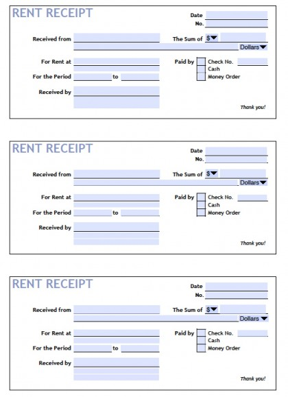 Download Printable Rent Receipt Templates PDF Word Excel - payment receipt template pdf