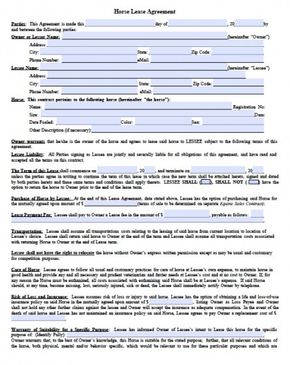 Download Horse Rental Lease Agreement Forms and Templates wikiDownload - sample horse lease agreement template