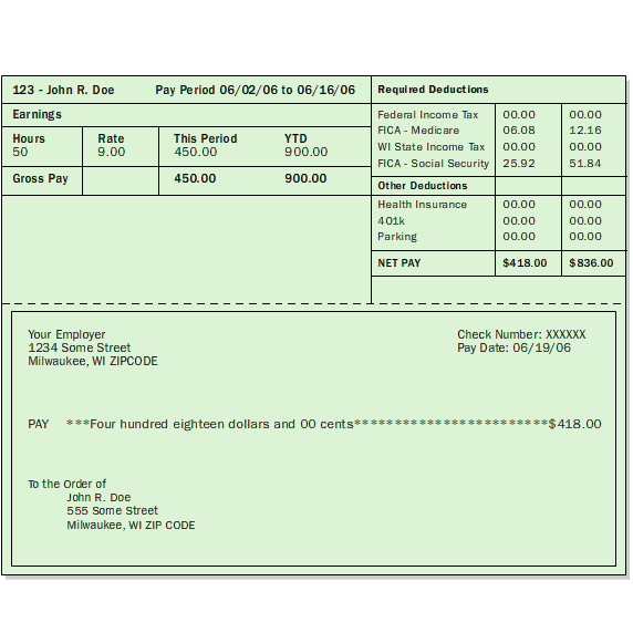 examples of check stubs
