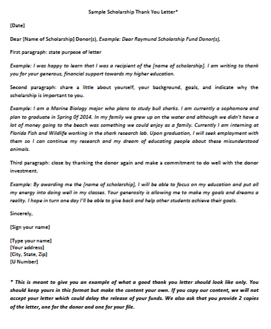 scholarship thank you letter pdf a few sample scholarship thank you letters for reference download scholarship