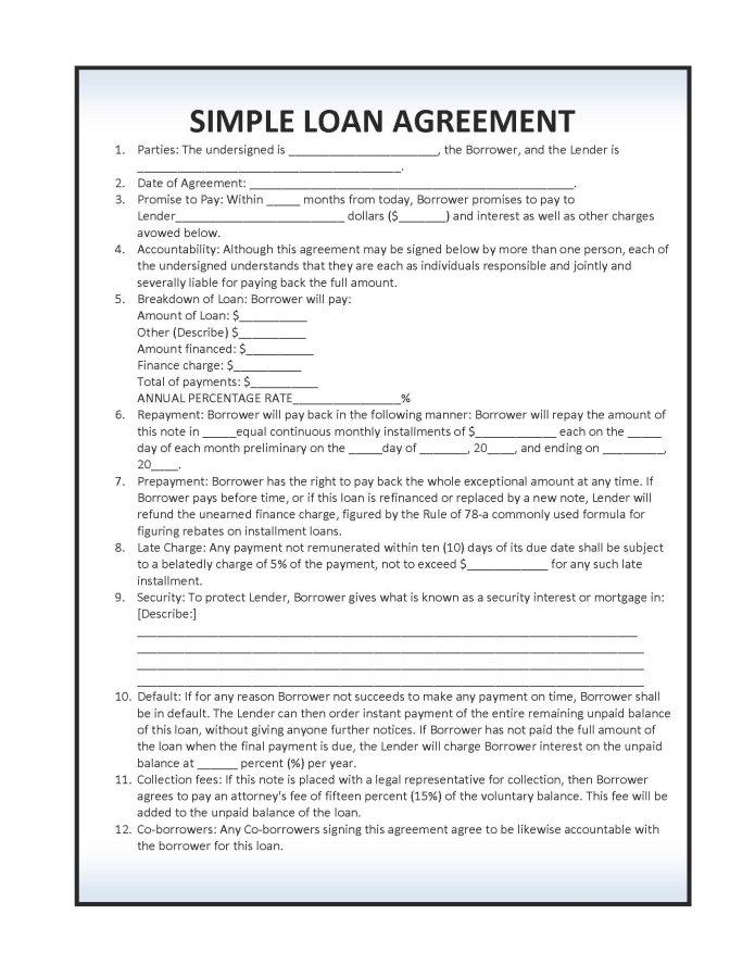 loan agreement word template - 28 images - simple loan agreement sle - Loan Document Template