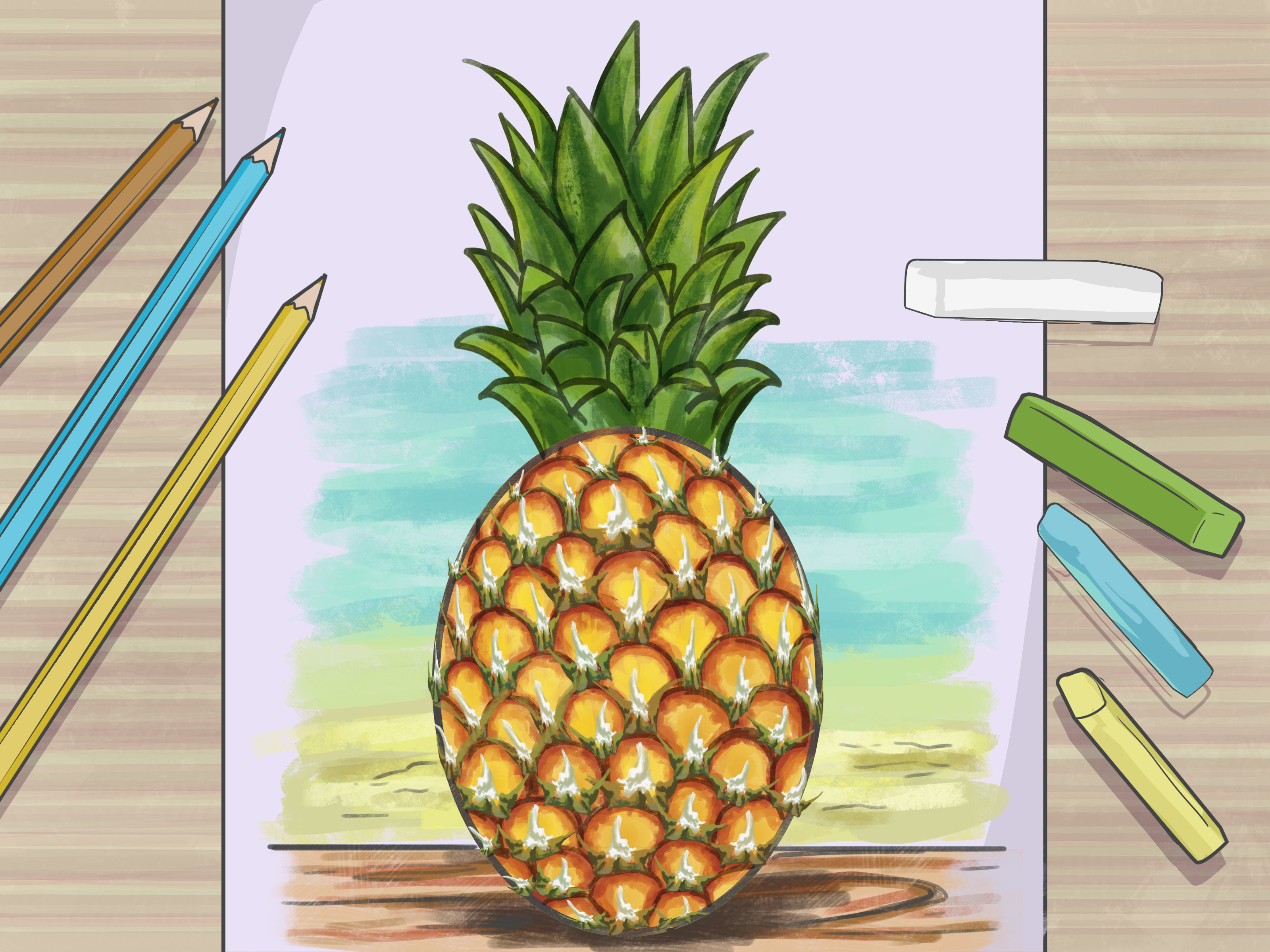 Baby Pineapple Pen How To Draw A Pineapple 9 Steps With Pictures Wikihow