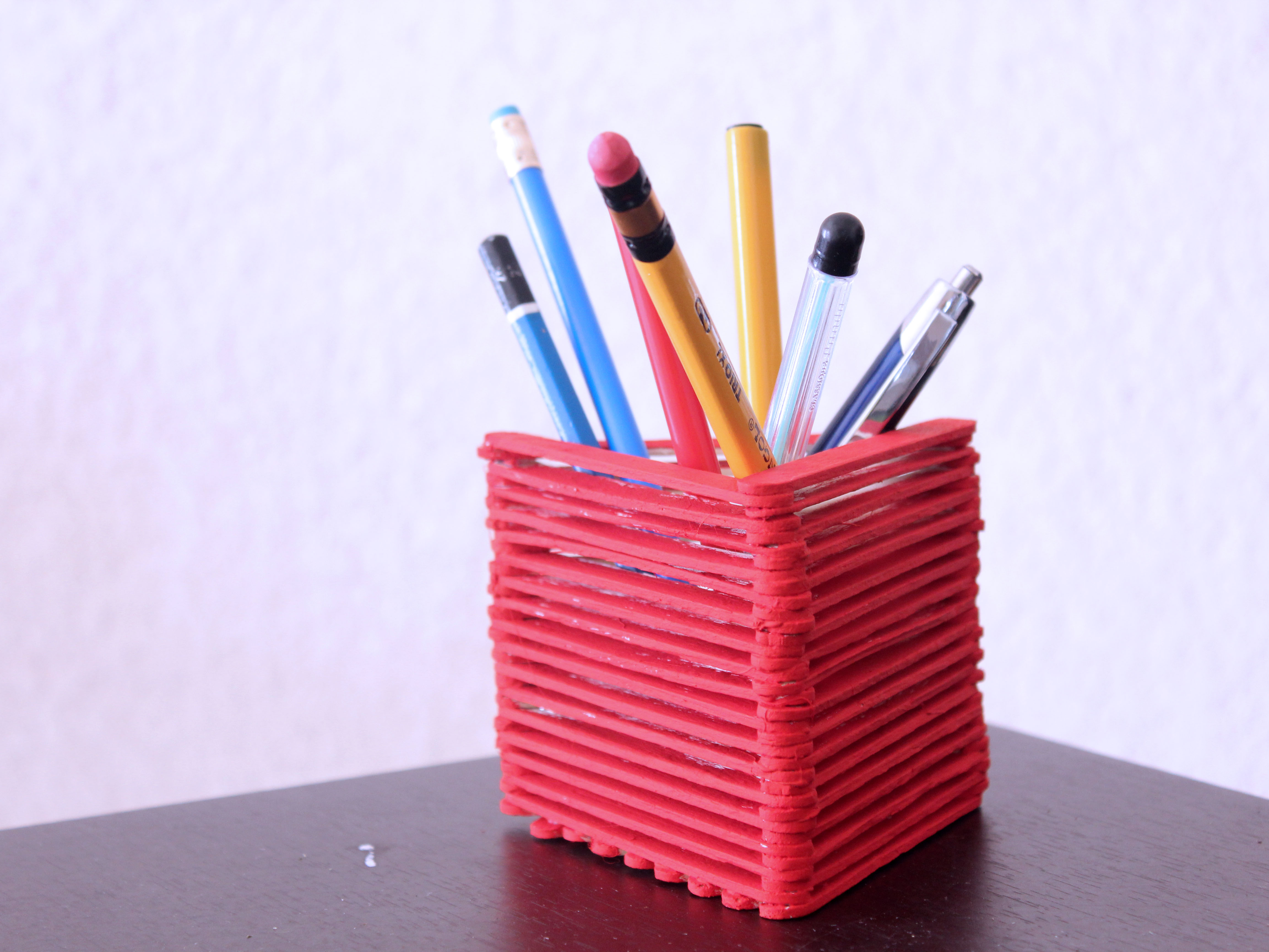 Homemade Pencil Holders How To Make A Pencil Holder With Popsicle Sticks With Pictures