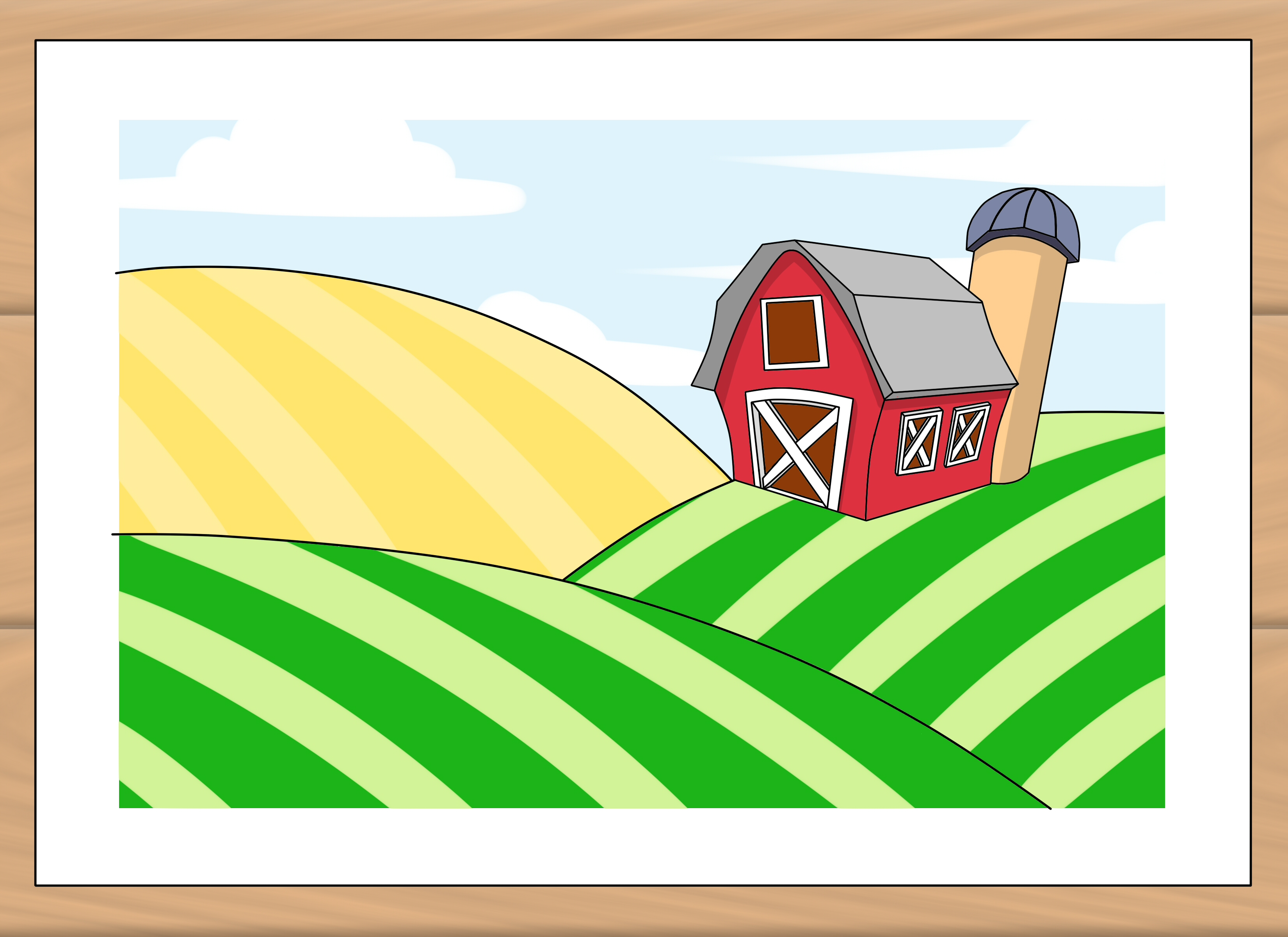 Red Farmhouse Drawing How To Draw A Farm 7 Steps With Pictures Wikihow