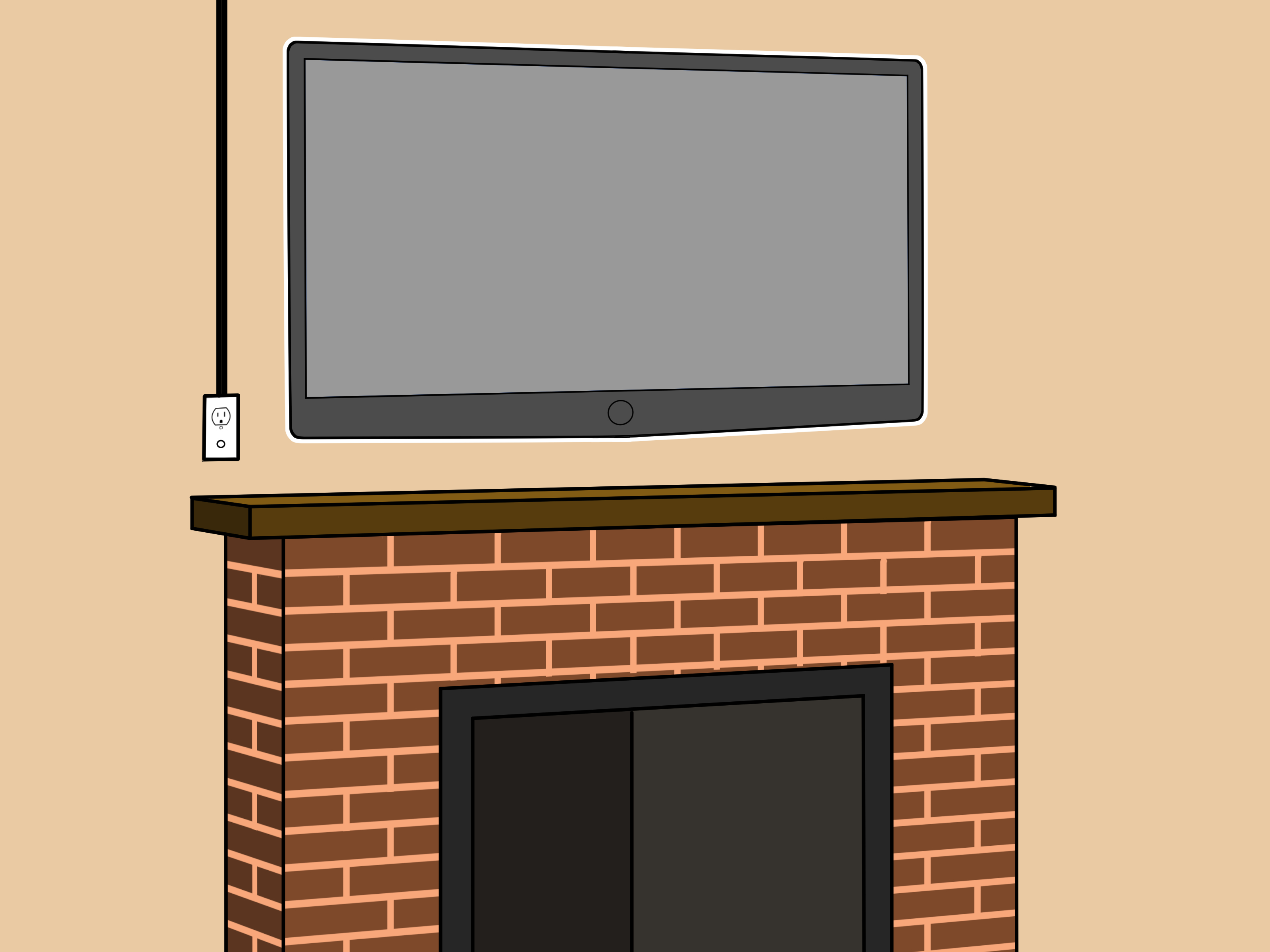 Photos Of Tv Mounted Over Fireplace How To Mount A Fireplace Tv Bracket 7 Steps With Pictures