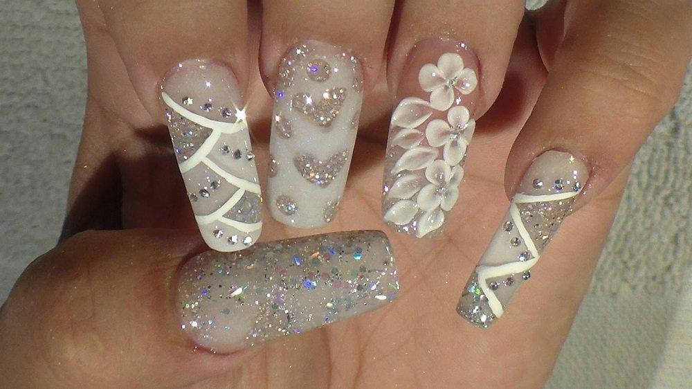 Sparkly Acrylic Nails Glitter For News Stiletto Nail Art