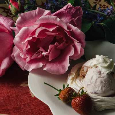A celebration with meringue nests and strawberry ice cream