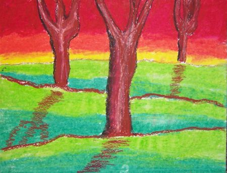 Landscape Drawings With Oil Pastels
