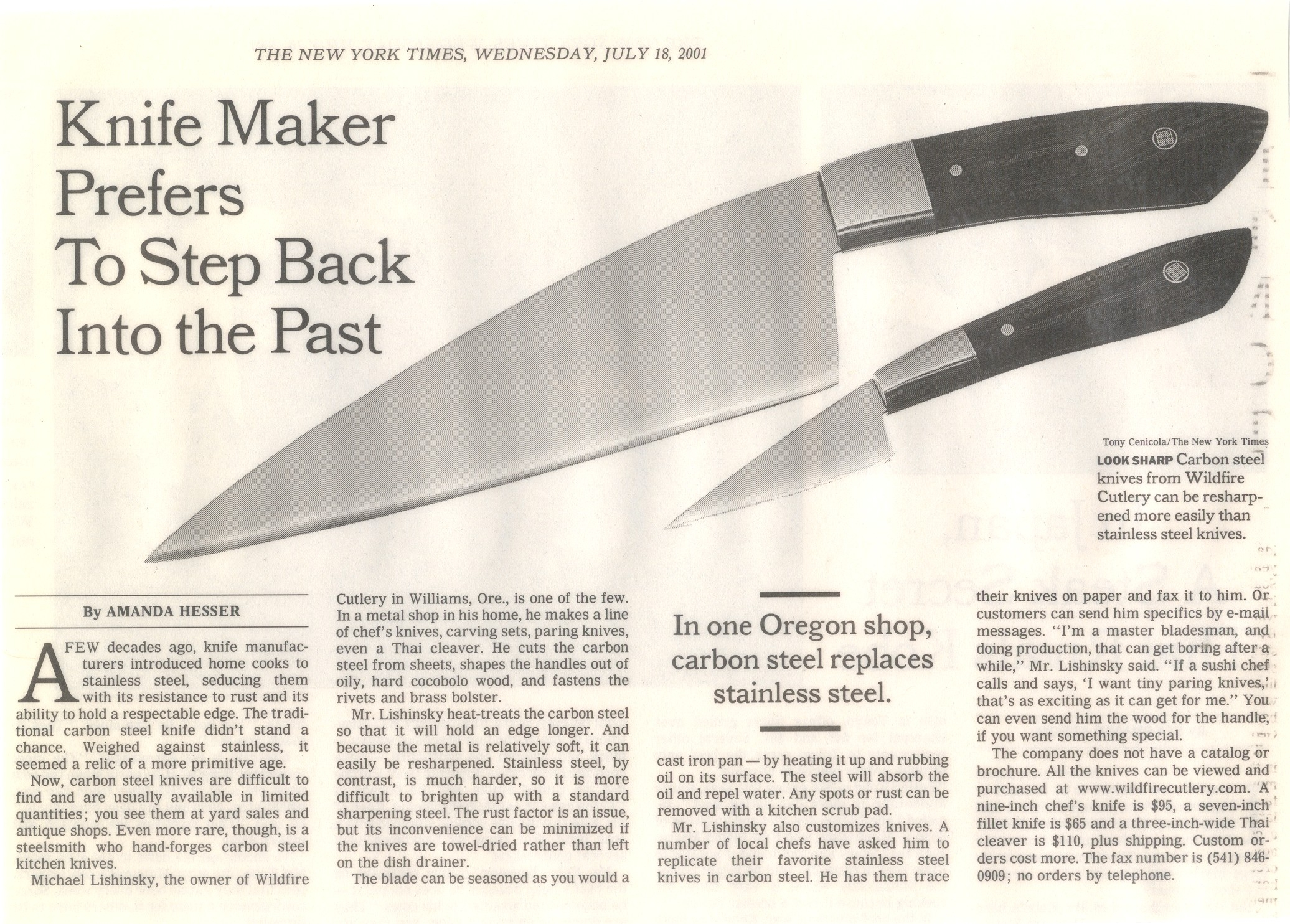 Knife Media Media Stories About The Carbon Steel Kitchen Knives Made By