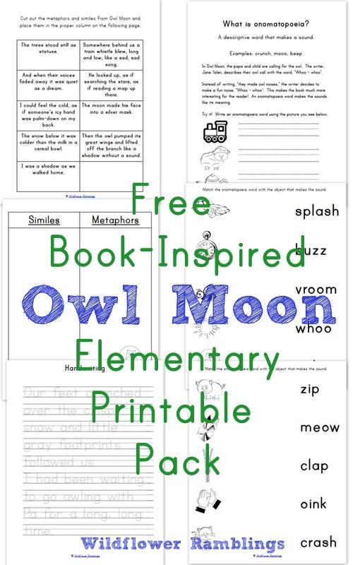Owl Moon {Book-Inspired Elementary Printables} - Wildflower Ramblings