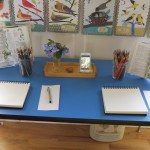 The table is prepared before the children even sit down to notebook - notebooks, pens, drawing materials, nature treasures, field guides - all are set out as attractively as I am able so that the lesson will be easy and organic when the children sit down.