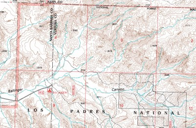 Ballinger Canyon Topo Map