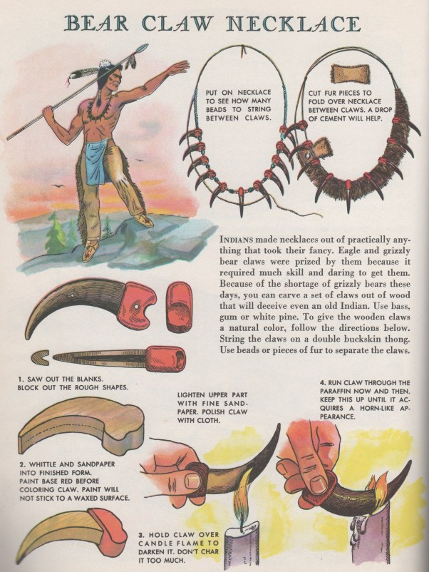 How to make a bear claw necklace from Indian Crafts and Lore