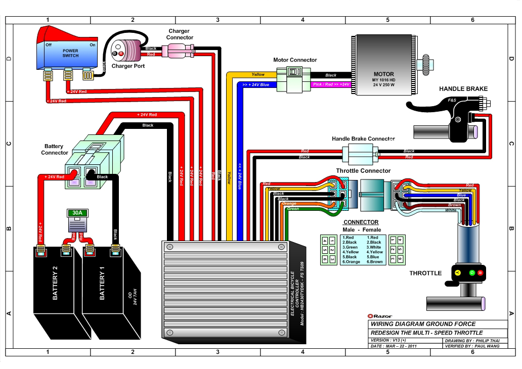 scooter wiring diagram for razor mx350
