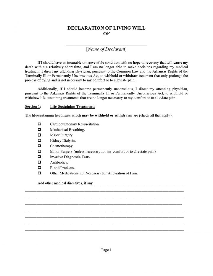 Arkansas Declaration of Living Will Form - Will Forms  Will Forms