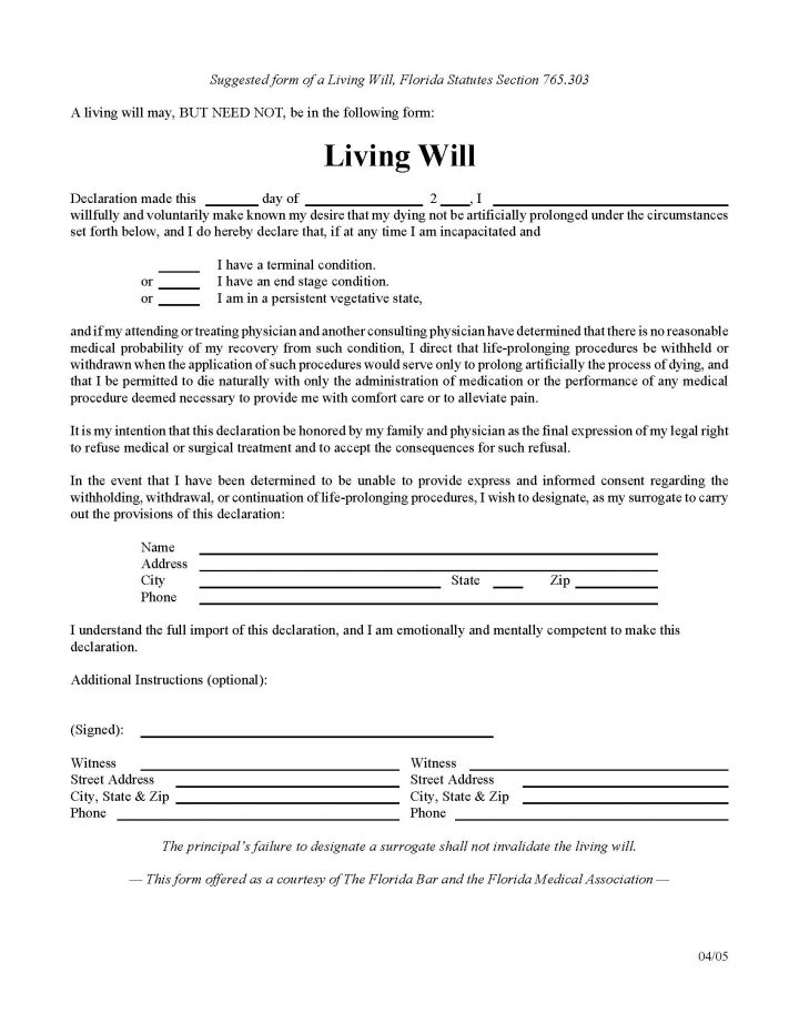 Florida Living Will Form - Will Forms  Will Forms