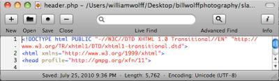 WPFolio header.pho lines of code