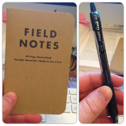 Field Notes notebook and pen