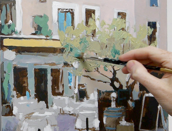 French Café Scene with Acrylics Tutorial \u2013 Free video Course Part 4