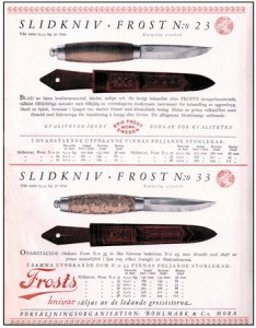 Early ad for Frost's Classic Mora Knife