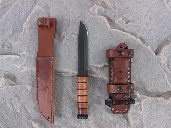 Ka-Bar Knife with Factory Sheath and Hedge Hog Leatherworks Sheath