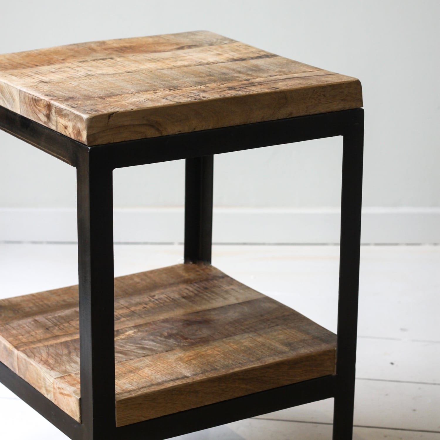 Wrought Iron And Wood End Tables Cast Iron Side Table With Mango Wood Top Willow Lifestyle