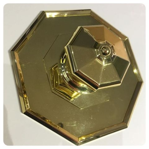 octagonal large entry knob in un-lacquered brass