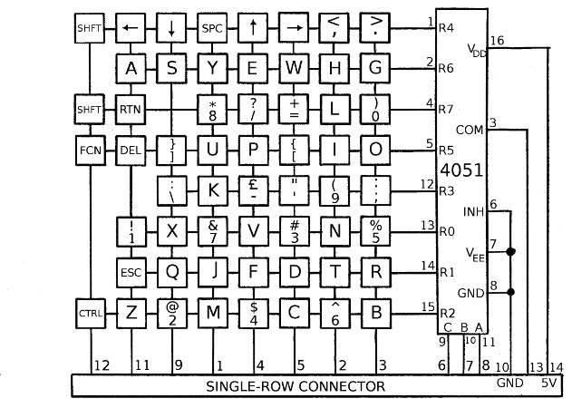 amstrad pcw keyboard circuit diagram