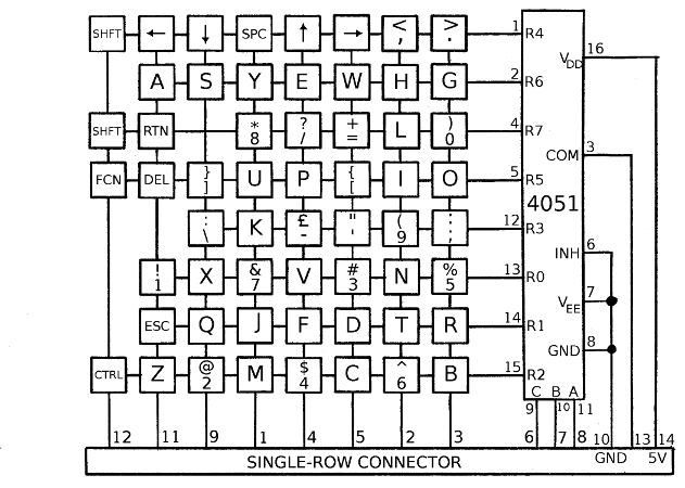 circuit diagram of computer keyboard