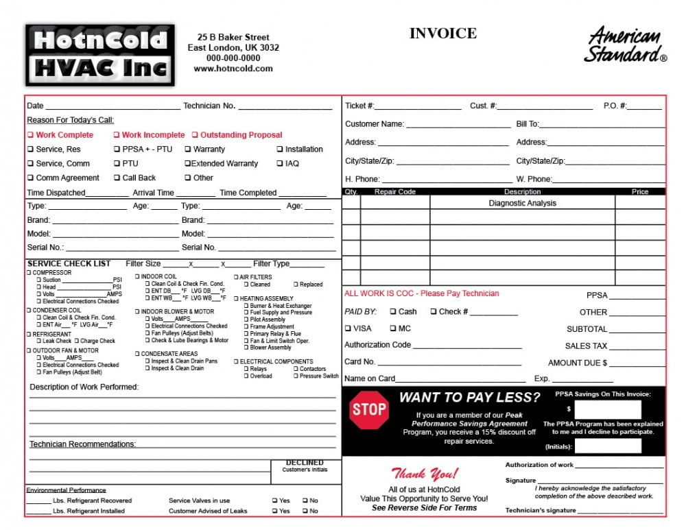 Heating  Air Invoice Form Samples - Wilson Printing Wilson
