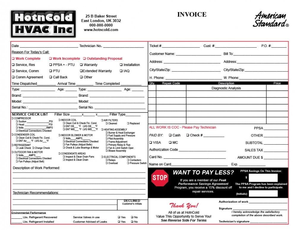 Hvac Invoice Template Hvac Invoice Form Download Free Hvac - hvac invoice templates