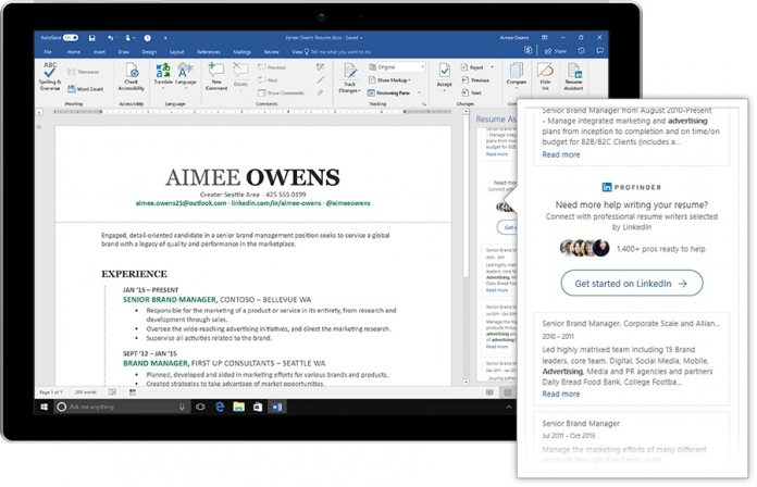 Microsoft Plugs LinkedIn into Word with Resume Assistant - WinBuzzer - get resume from linkedin