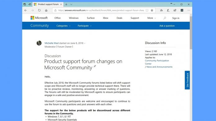 Microsoft to Axe Community Forum Support for Windows 7, 8, and - microsoft surface support number