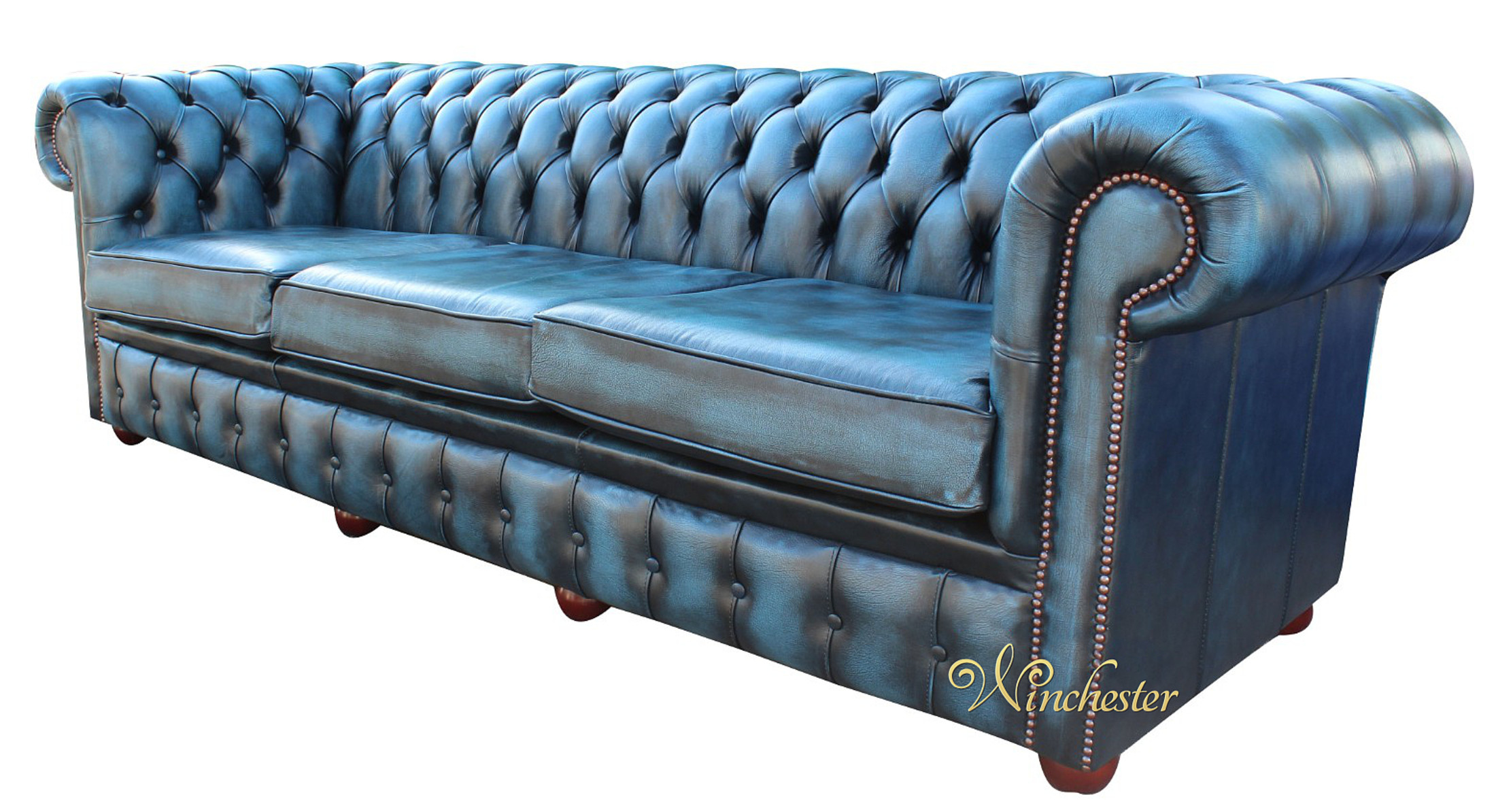 Chesterfield Sofa Navy Blue Leather Chesterfield Sofa Chesterfield 4 Seater