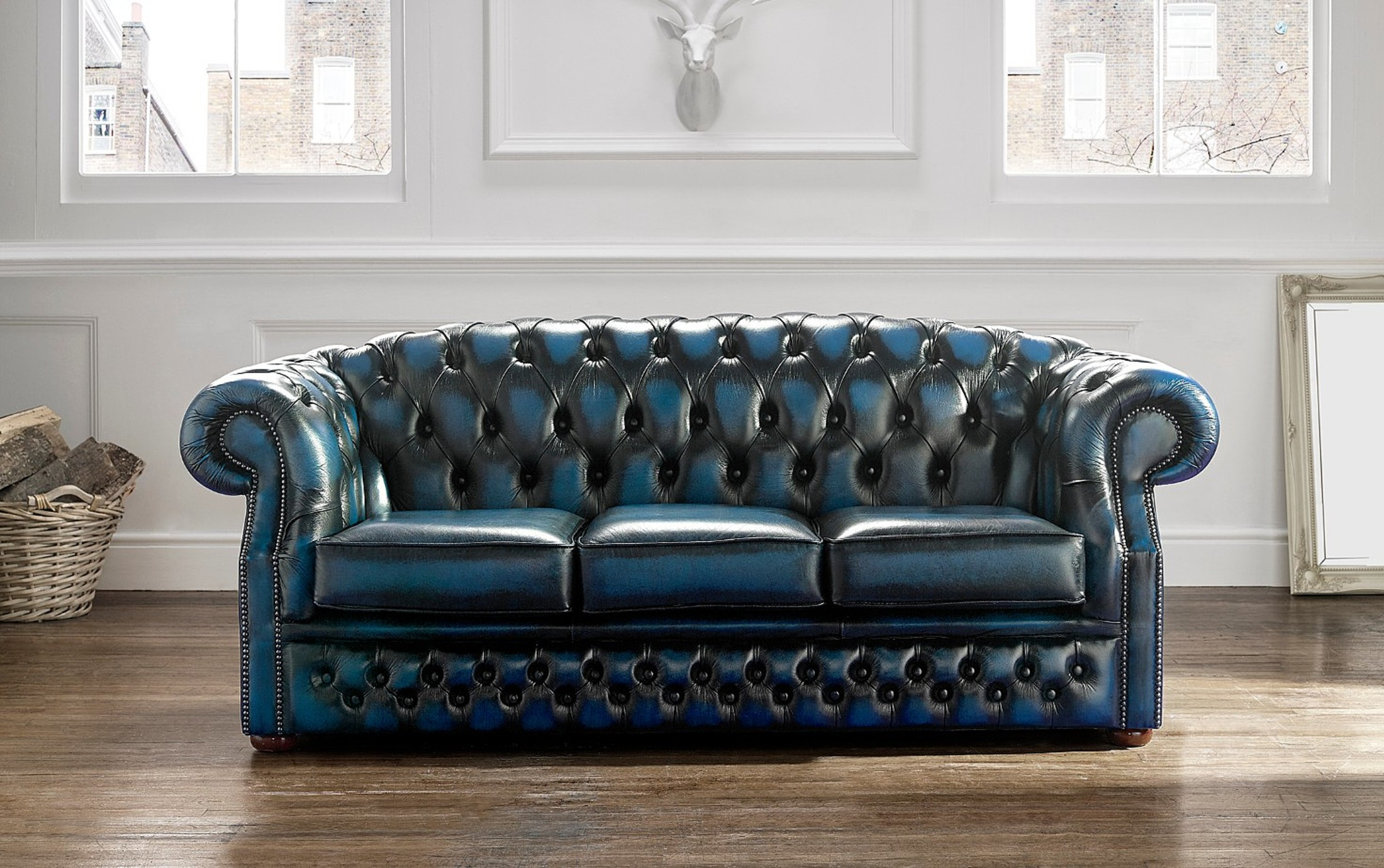 Couch Chesterfield Chesterfield Buckingham Leather Sofa 3 Seater Antique Blue