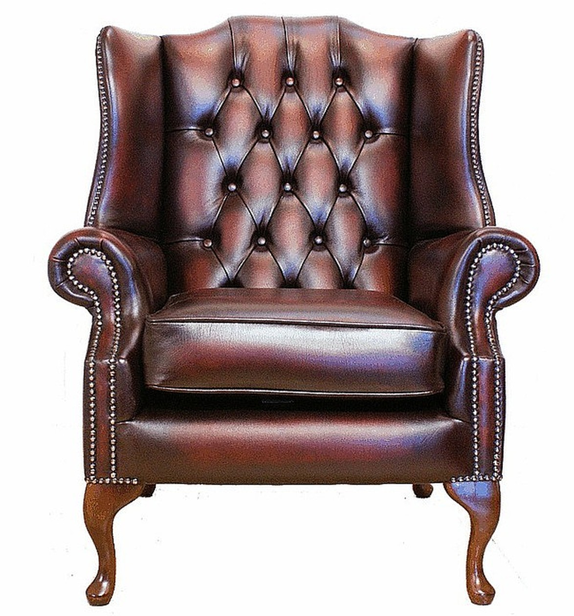 Chesterfield Mallory Flat Wing Queen Anne High Back Wing - Leather Queen Chair