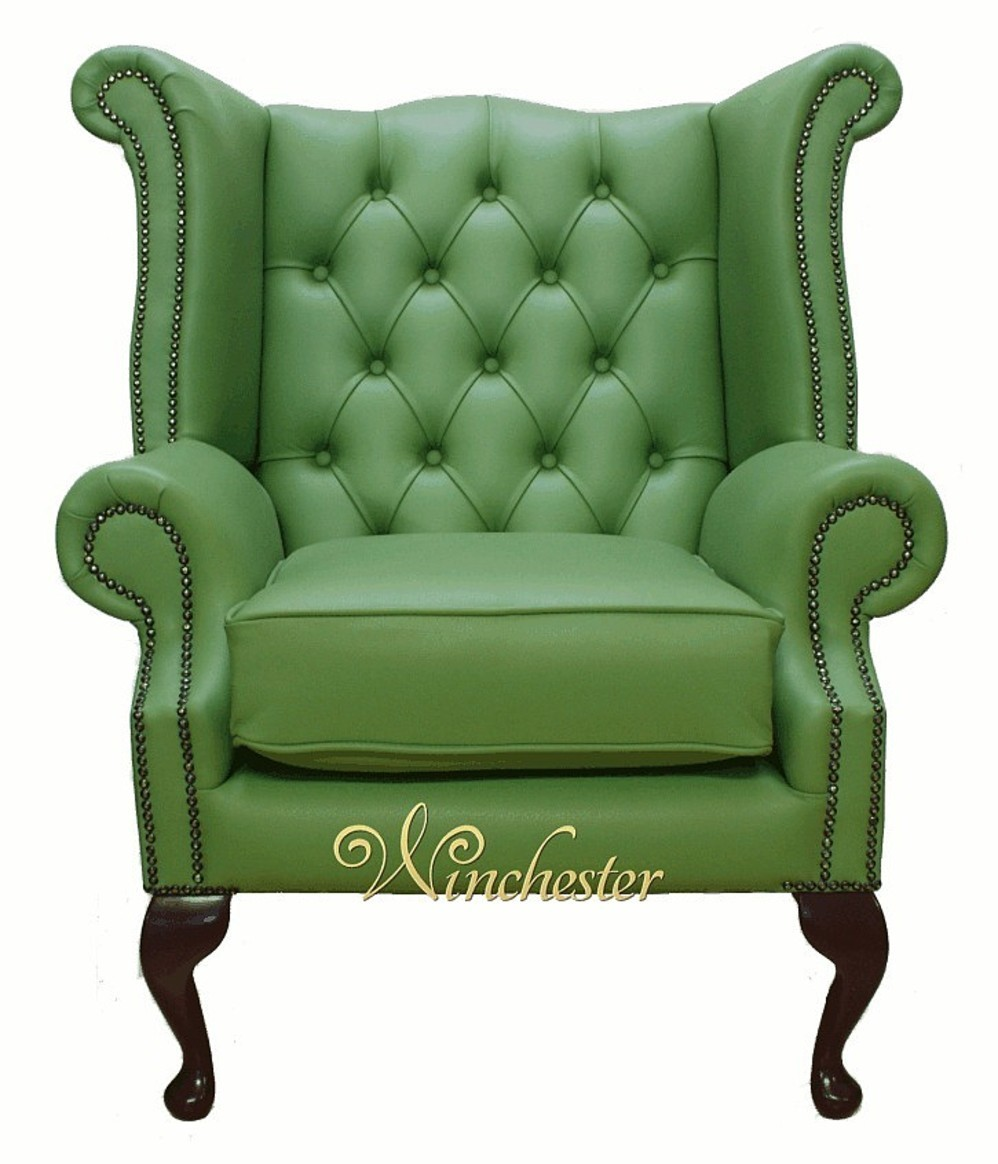 Chesterfield Queen Anne High Back Wing Chair Uk - Leather Queen Chair