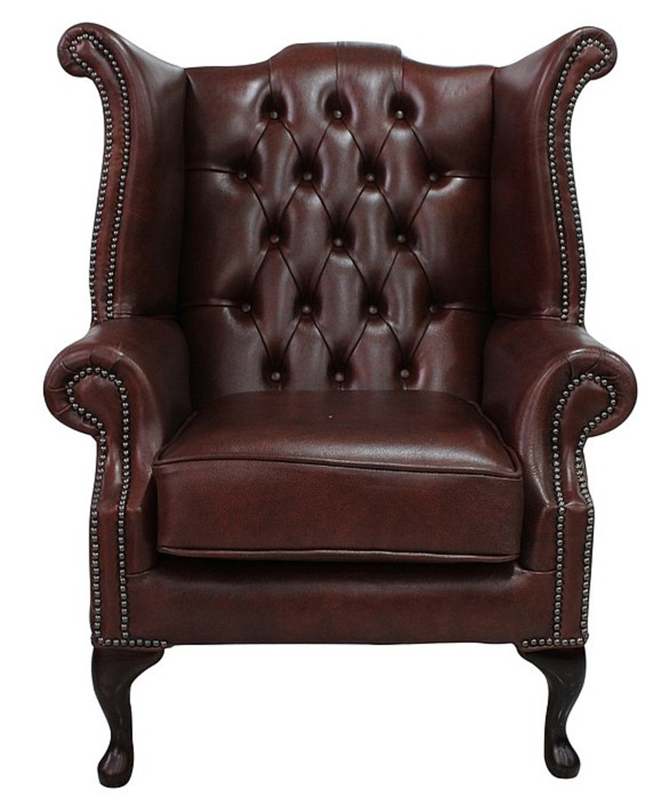 Conker Brown Chesterfield High Back Wing Chair - Leather Queen Chair
