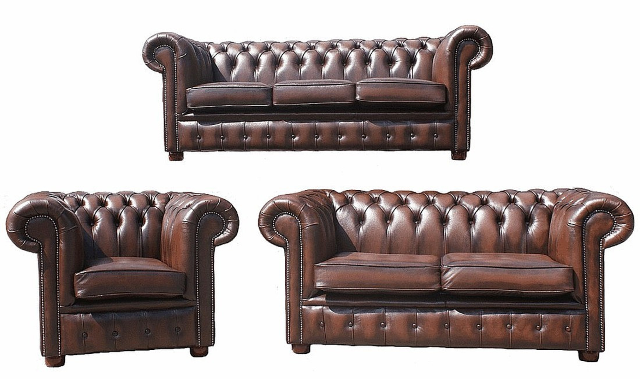 Chesterfield Sofa Leder Chesterfield 3+2+1 Leather Sofa Offer Antique Brown