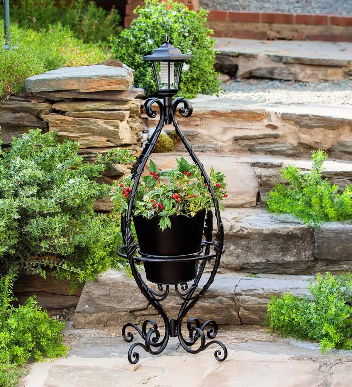 Herb Garden Plant Stands Black Wrought Iron Plant Stand With Solar Light Plants