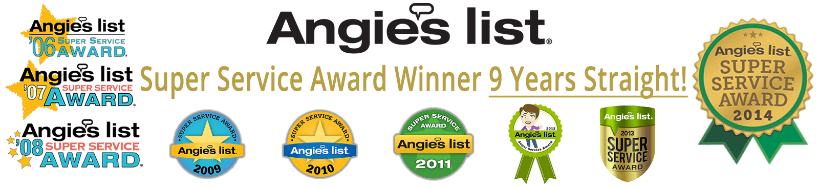 Angie's List Super Service Award 8 Years in a Row
